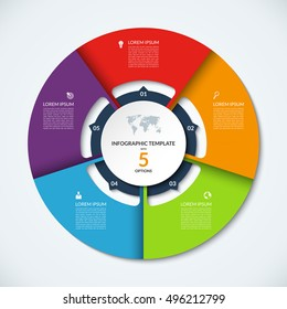 Circle infographic template. Vector layout with 5 options. Can be used for cycle diagram, round chart, graph, annual report, presentation, web design, step by step infographics