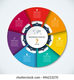 Circle infographic template. Vector layout with 7 options. Can be used for cycle diagram, round chart, graph, annual report, presentation, web design, step by step infographics