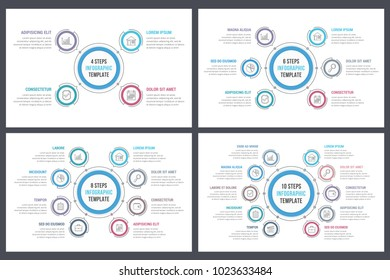 Circle infographic templates with 4, 6, 8 and 10 steps or options, workflow or process diagram, vector eps10 illustration