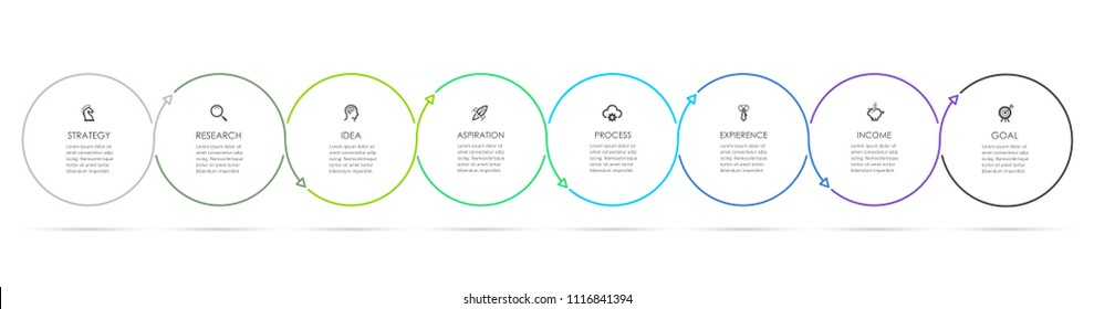 Circle Infographic thin line design with icons and 8 options or steps. Infographics for business concept. Can be used for presentations banner, workflow layout, process diagram, flow chart, info graph