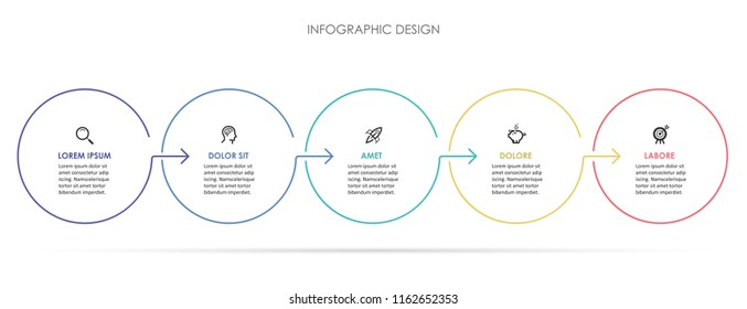 Circle Infographic thin line design with icons and 5 options or steps. Infographics for business concept. Can be used for presentations banner, workflow layout, process diagram, flow chart, info graph