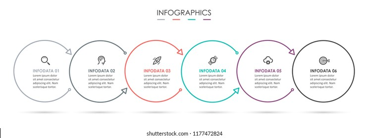 Circle Infographic thin line design with icons and 6 options or steps. Infographics for business concept. Can be used for presentations banner, workflow layout, process diagram, flow chart, info graph