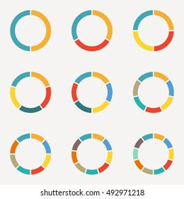 Circle infographics concept with 2,3,4,5,6,7,8,9,10 steps, parts, levels or options.Circular diagram set. Pie chart template. Colorful vector illustration.