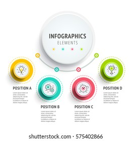 Circle infographics elements design. Abstract business workflow presentation with linear icons. Steps on timeline or job options in 3D style. Best for commercial slideshow, website landing interface.
