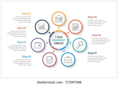 Circle infographics template with seven elements, can be used as process diagram, steps, options, vector eps10 illustration