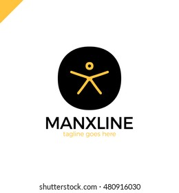 1949a970548057 Circle initial line letter X man logo design template black and yellow