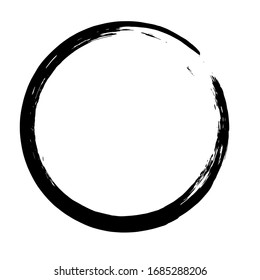 Circle ink brush stroke, japanese calligraphy paint buddhism symbol, Zen enso, black paint round line, vector illustration.