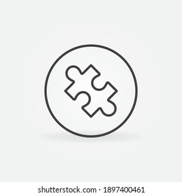 Circle with Jigsaw Puzzle outline vector concept icon or design element