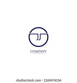 circle jj logo type design concept in blue jeans color