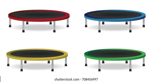 Circle jumping trampoline set. Isolated vector illustration. Athletic Equipment for indoor or outdoor fitness.