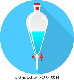 Circle Laboratory Equipment Cartoon Vector - Separatory Funnel, Separation Icon