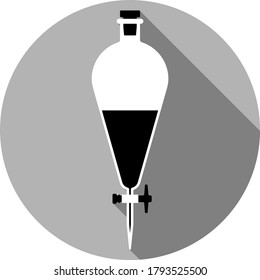 Circle Laboratory Equipment Cartoon Vector - Black And White Silhouette Separatory Funnel, Separation Icon