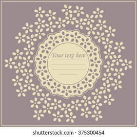 Circle lace frame with decorative flowers can be used for wedding invitation card, greeting card, baby shower and more creative designs.
