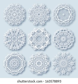Circle lace ornament, round ornamental geometric doily pattern, christmas snowflake decoration