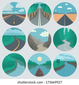 Circle Landscapes Icons in Trendy Flat Style