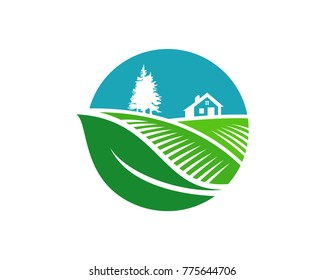 Circle Leaf Farm Fields with Pine Tree and House Generic Symbol Logo Modern