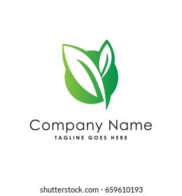 circle leaf fresh nature logo template