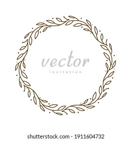 circle leaves flower handrawn frame for wedding invitation greeting card vector font template
