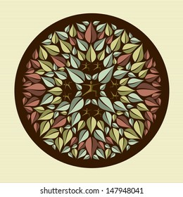 Circle leaves and person mandala design. Vector file layered for easy manipulation and custom coloring.