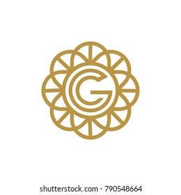 circle  Letter G Logo design. Luxury jewelry frame gem edge logotype