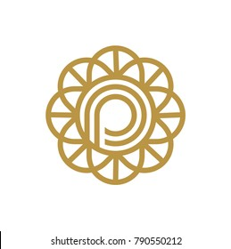 circle  Letter P Logo design. Luxury jewelry frame gem edge logotype
