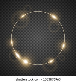 Circle of light, stylish lights round on transparent bacground, light effect, golden color