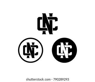 Circle Line Art Black Initial Name Letter NC or CN Monogram Flat Logo Symbol Vector