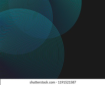 Circle lines overlay pattern in blue green color isolated on black background. For design elements in concept of technology, science or modern.