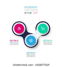 Circle linked with business icon infographics on white background.
