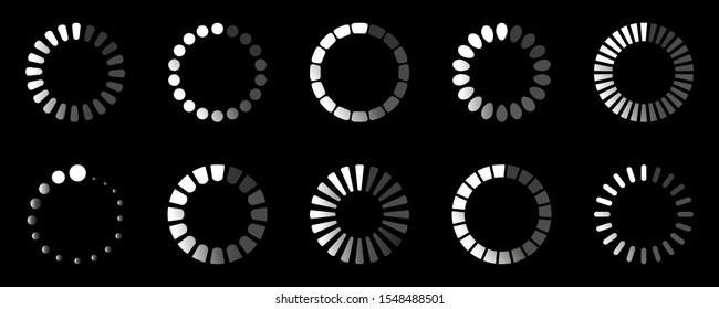 Circle loader. Progressive wait download internet buffering upload website interface sign isolated icon set