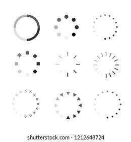 Circle Loading icons, Isolated icon set on black background