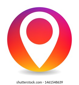 Circle Location marker Sign. Degrade Gradient Instagram Style Colorful Bright Navigation Symbol. Place on Map Point Icon with Shadow. Vector isolated Insta Trendy multicolor logo