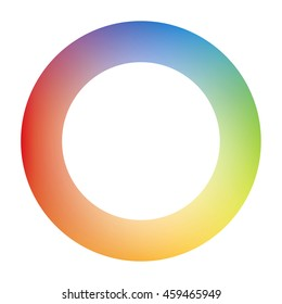 Circle Logo Design Filled with Blue Green Yellow Orange Red Purple Rainbow Gradient Mesh Masked by White