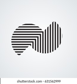 Circle Logo with lines.Square unusual icon Design .frame with Vector stripes .Geometric shape.
