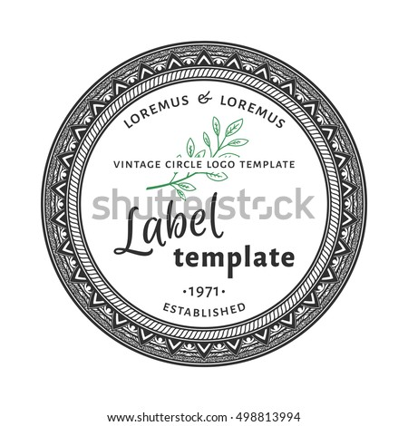Circle Logo Vintage Round Label Template Stock Vector Royalty Free