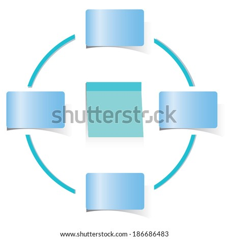circle loop diagram, blue sticky note paper template