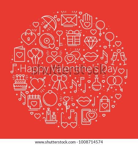 Circle Love Symbols Line Style Love Stock Vector Royalty Free