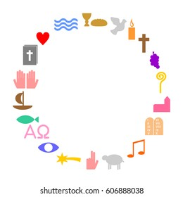 Circle made of colorful christian symbols