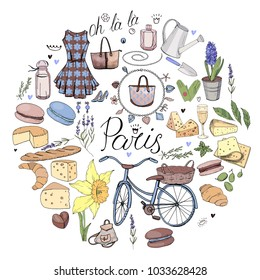 Circle made of different symbols related to France, travelling and Paris. Blue and brown color. Round template for greeting cards isolated on white