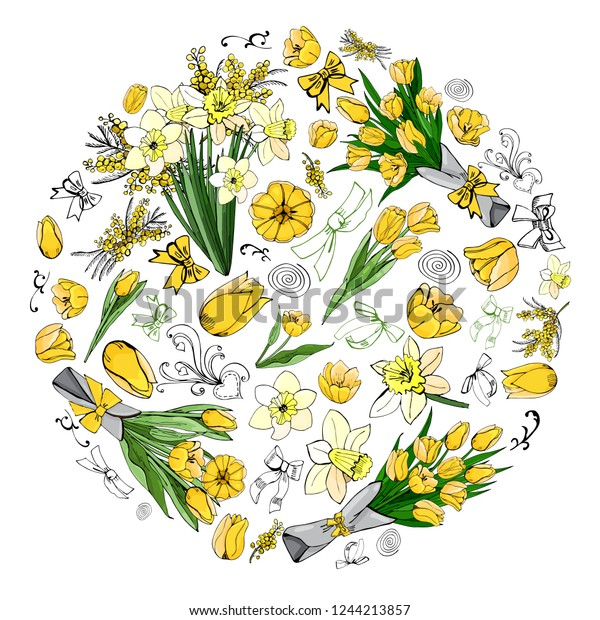 Circle made of  different yellow and green floral elements. Template for greeting card and invitation. Colore hand drawn  sketch on white background. Vector illustration.