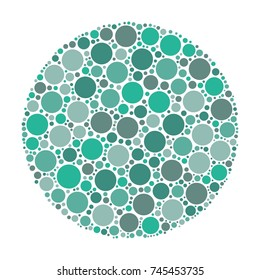 Circle made of dots in shades of azure. Abstract vector illustration inspired by medical Ishirara test for color-blindness.