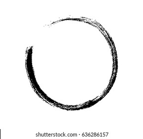Circle marker brush stroke or dry paint line frame. Sketch pencil scribble, trace grunge underline or smudge isolated on white background. Vector black ink round brushstroke.