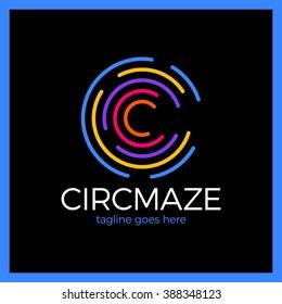 Circle Maze Logotype - Letter C logo