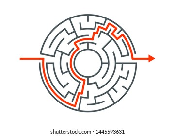 Circle maze vector labyrinth game. Round puzzle circular maze with solution. Complex labyrunth pattern.
