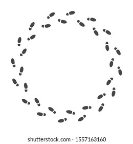 Circle of men's footprints shoes. Go in circle. Look for problem solution. Seek a way out of this situation. Vector illustration, isolated on white background.