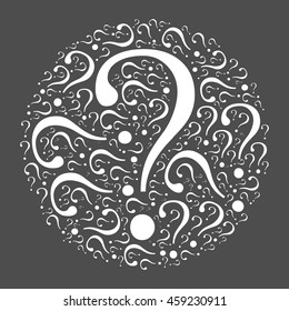 Circle mocaic of question marks. White vector illustration on dark grey background. Quiz theme.