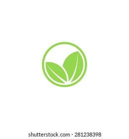 Circle mockup eco logo, green leafs of plant, organic creative icon