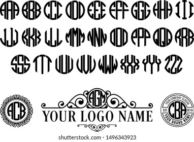 Circle monogram font. Round logotype with 3 letter. Vintage symbol style with spiral classic.