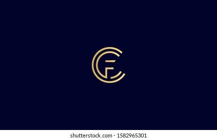 Circle monogram letter CF,FC,C and F logo icon