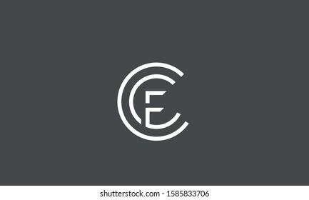 Circle monogram letters CCF,CFC,FCC,C and F symbol icon